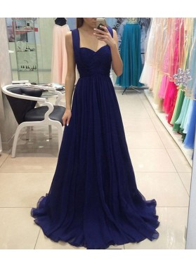 Cheap Chiffon Sweetheart Royal Blue A-Line/Princess 2020 Prom Dresses