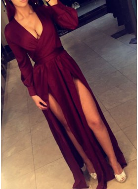 Sexy Burgundy Side Slit A-Line/Princess 2019 Long Sleeves Prom Dresses