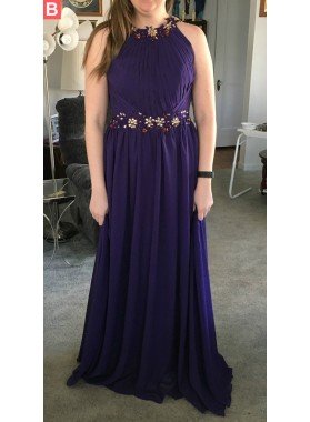 Cheap A-Line/Princess Chiffon Purple 2021 Prom Dresses