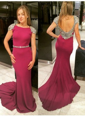 Sexy Trumpet/Mermaid Capped Sleeves 2019 Prom Dresses