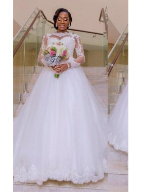 Cheap A Line White Long Sleeves 2021 Tulle With Appliques Wedding Dresses