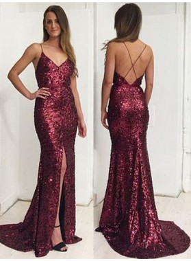 Sexy Sequence Side Slit Backless 2019 Prom Dresses