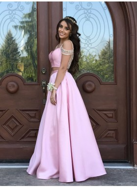 Cheap A-Line/Princess Satin Sweetheart Two Pieces 2019 Prom Dresses