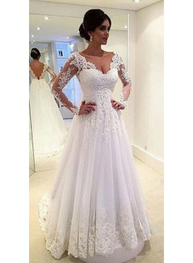 Cheap A Line Long Sleeves V Neck Tulle With Appliques 2020 Wedding Dresses