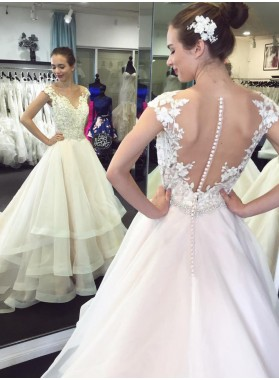 2020 A Line Ruffles Tulle With Appliques Layers Wedding Dresses