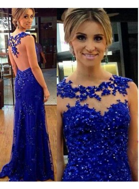 Cheap Sheath Royal Blue 2019 Prom Dresses With Appliques