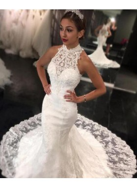 2020 New Mermaid High Neck Sweep Train Lace Wedding Dresses