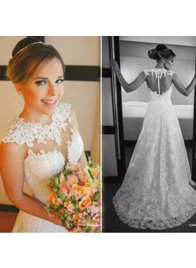 Elegant A Line Sweetheart Sweep Train 2021 Lace Wedding Dresses