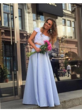 Cheap A-Line/Princess Satin Light Sky Blue Two Pieces 2019 Prom Dresses