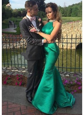 Sexy Trumpet/Mermaid Emerald Backless 2019 Prom Dresses