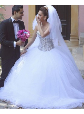 Sweetheart Organza Beaded With Lace Ball Gown Wedding Dresses
