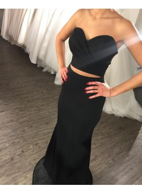 Charming Black Two Pieces Sweetheart Satin 2019 Prom Dresses