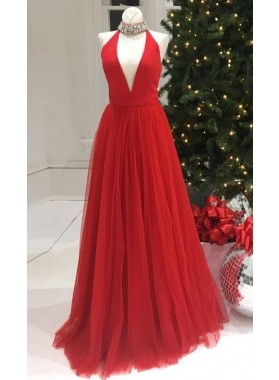 Newly A-Line/Princess V Neck Red Tulle 2020 Prom Dresses