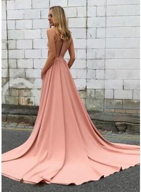 Newly A-Line/Princess Long Train Satin 2019 Prom Dresses