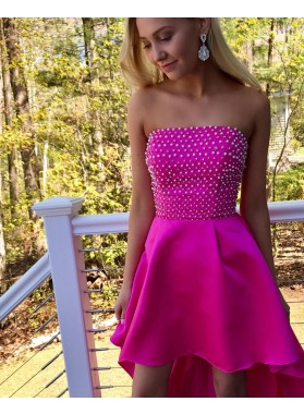 Cheap A-Line/Princess Fuchsia Strapless Beaded High Low 2020 Prom Dresses