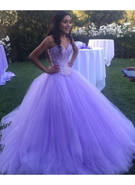 2020 Charming Lilac Sweetheart Tulle Ball Gown Prom Dresses