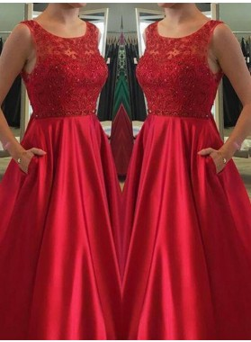 2019 A-Line/Princess Satin Red Prom Dresses With Appliques