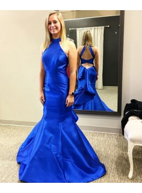 Trumpet/Mermaid Royal Blue Satin 2019 Prom Dresses