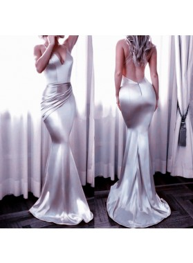 Sexy Trumpet/Mermaid Silver Backless Satin 2019 Prom Dresses