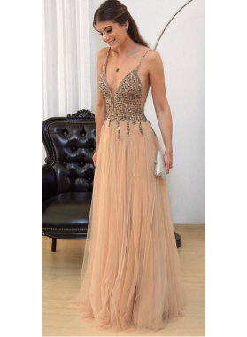 Charming A-Line/Princess Tulle Champagne Beaded V Neck Prom Dresses 2020