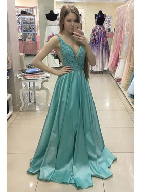 A-Line/Princess Mint Green V Neck Satin Beaded 2019 Prom Dresses