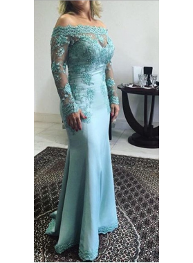 2019 Blue Long Sleeves Off The Shoulder Lace Prom Dresses