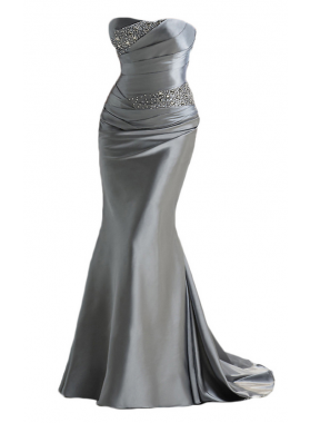 2019 Trumpet/Mermaid Sweetheart Silver Elastic Satin Prom Dresses
