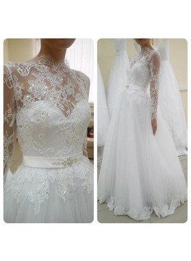 A Line Tulle With Appliques And Belt Long Sleeves 2021 Cheap Wedding Dresses