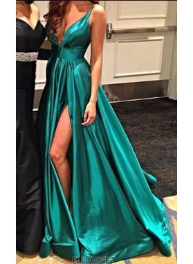 2021 A-Line/Princess Satin Jade Sweetheart Side Slit Prom Dresses