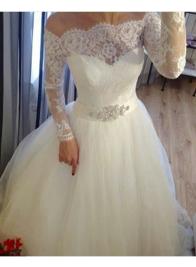 2021 A Line Off The Shoulder Long Sleeves Lace With Tulle Wedding Dresses