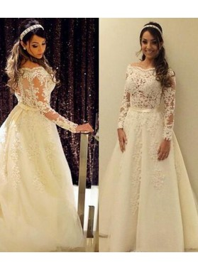 2021 Cheap A Line Tulle Off The Shoulder Long Sleeves Wedding Dresses
