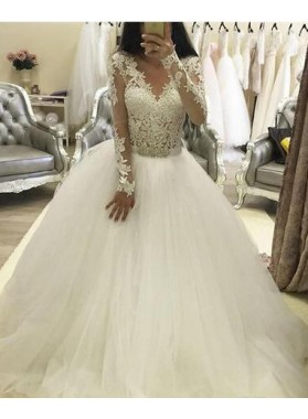 2021 A Line V Neck Long Sleeves Tulle Wedding Dresses