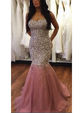 Charming Trumpet/Mermaid Sweetheart Dusty Rose Tulle 2021 Prom Dresses