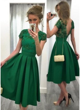 Cheap A-Line/Princess Emerald Satin Short Prom Dresses 2021
