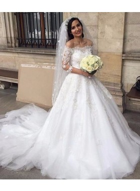 2021 New Arrival A Line Tulle Off The Shoulder Long Sleeves Wedding Dresses