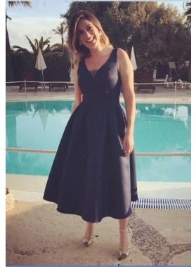 Cheap A-Line/Princess Tea Length Black 2019 Short Prom Dresses