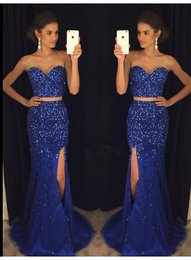 Sheath Royal Blue Two Pieces Beaded 2019 Prom Dresses