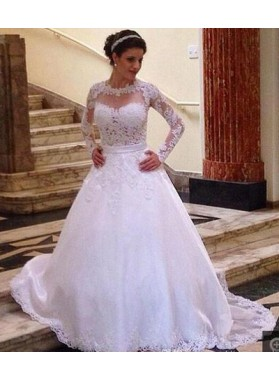 2020 Classic A Line Long Sleeves Lace Wedding Dresses