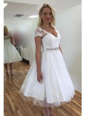 2019 Cheap A Line Tea Length V Capped Sleeves Short Wedding Dresses