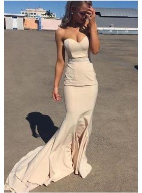 Cheap Sheath Sweetheart Champagne 2019 Prom Dresses