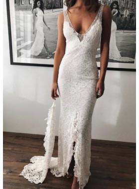 Sexy Sheath V Neck Lace Side Slit 2019 Wedding Dresses