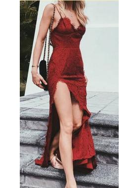 Sheath Side Slit Sweetheart Lace 2019 Burgundy Prom Dresses
