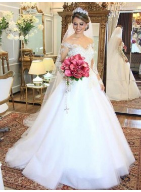 2020 Elegant A Line Off The Shoulder Long Sleeves Wedding Dresses