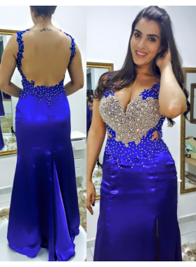 New Sheath Royal Blue Satin 2019 Prom Dresses