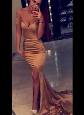 2019 Trumpet/Mermaid Off The Shoulder Satin Side Slit Prom Dresses