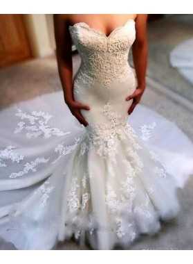 Sexy Mermaid Sweetheart 2019 Wedding Dresses With Appliques
