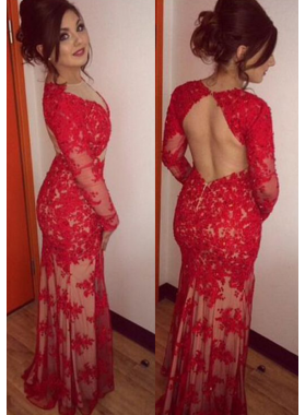 Charming Trumpet/Mermaid Red Long Sleeves Backless Lace 2019 Prom Dresses