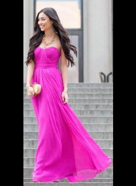 Cheap Strapless A-Line/Princess Chiffon Fuchsia Prom Dresses 2019