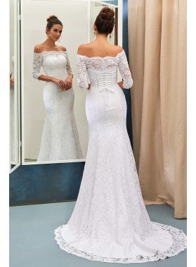 Adorable Sheath Off The Shoulder Long Sleeves Lace Wedding Dresses 2020