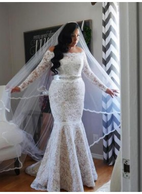 Mermaid Off The Shoulder Long Sleeves Lace Wedding Dresses 2020